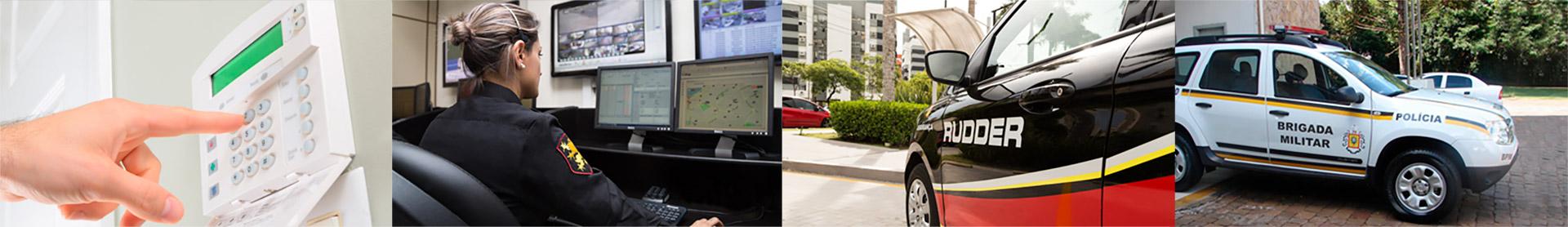 Agentes de segurança em centro de monitoramento integrado